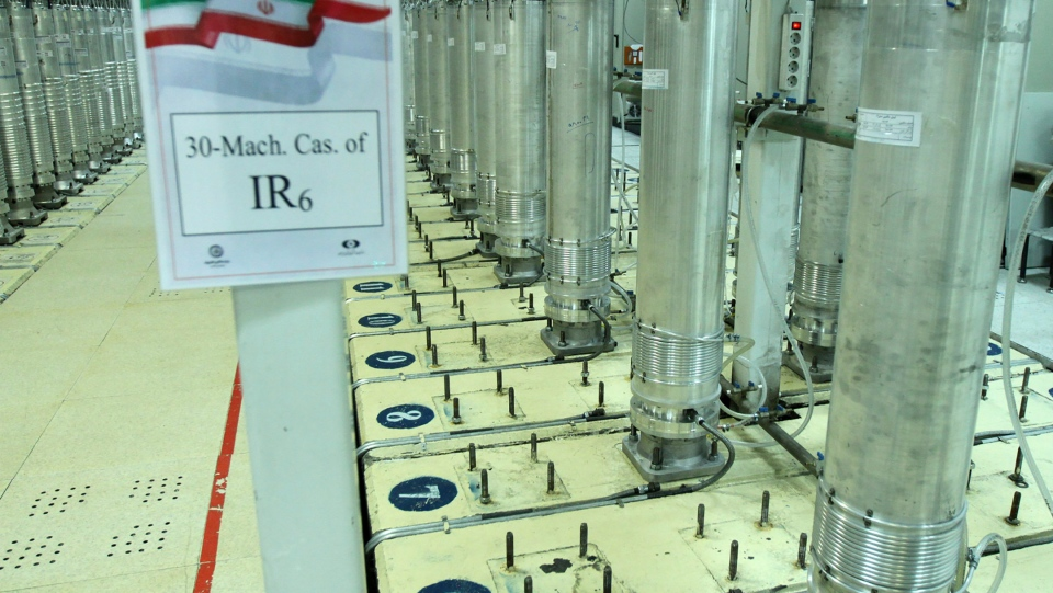 This photo released Nov. 5, 2019, by the Atomic Energy Organization of Iran, shows centrifuge machines in the Natanz uranium enrichment facility in central Iran. (Atomic Energy Organization of Iran via AP, File)