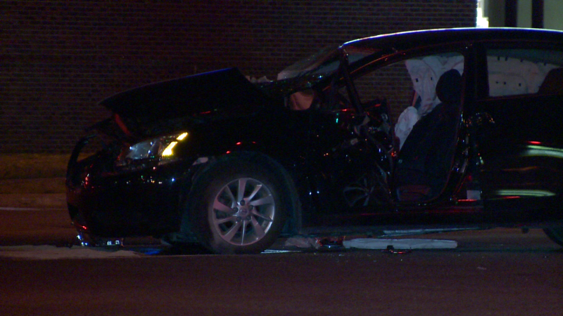 A car and a city bus were involved in a collision in Brossard on Wednesday night / Cosmo Santamaria, CTV Montreal