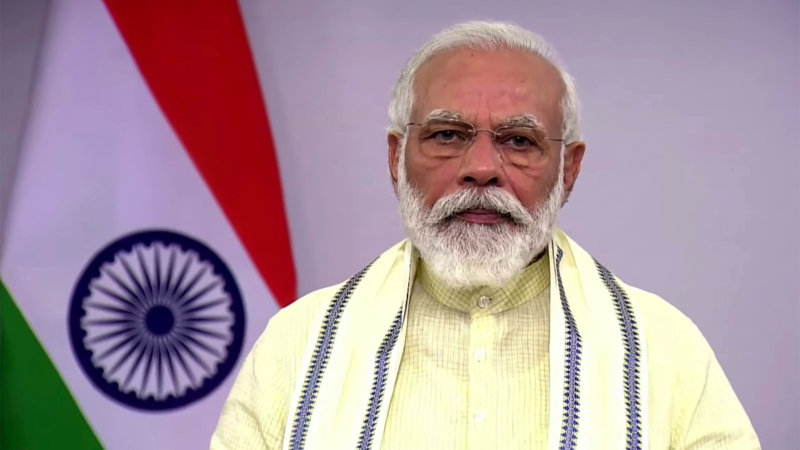 In this June 30, 2020, frame grab from video, Indian Prime Minister Narendra Modi speaks during a televised address to the nation in New Delhi, India. (Narendramodi.in via AP)