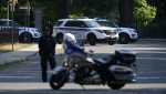 A police barricade is set up near Rideau Hall in Ottawa on Thursday, July 2, 2020. THE CANADIAN PRESS/Adrian Wyld