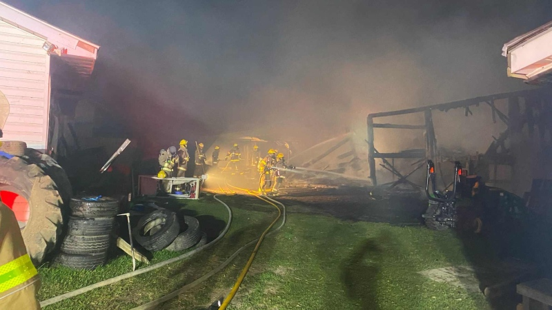 Firefighters put out a blaze at an animal rescue centre in Chatham-Kent, Ont. (Courtesy Chatham-Kent Fire Department)