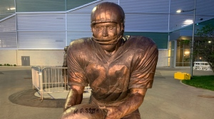 The Saskatchewan Roughriders Ron Lancaster Statue was vandalized recently as graffiti was noticed Wednesday afternoon.