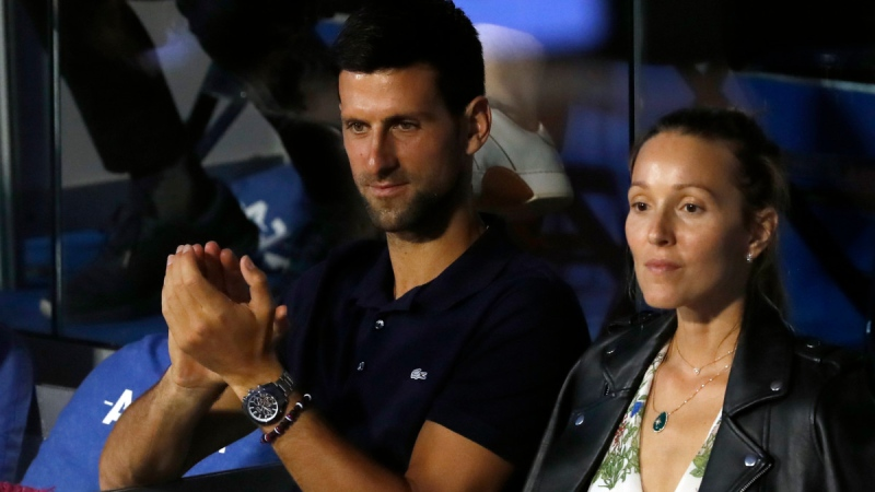 Novak Djokovic, left, with his wife Jelena in Belgrade, Serbia, on June 14, 2020. (Darko Vojinovic / AP)