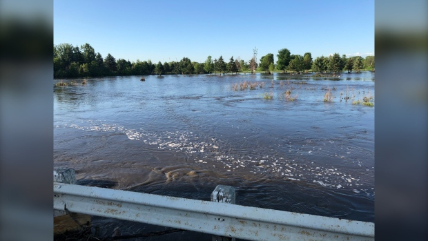 Flooding in Neepawa is pictured on July 2, 2020. (CTV News Photo Ken Gabel)