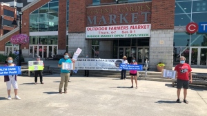 A physically distanced Ontario Health Coalition rally over long-term care and home care is seen outside Covent Garden Market in London, Ont. on Thursday, July 2, 2020. (Nick Paparella / CTV News)