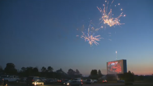 Some residents gathered at the Mustang Drive-in to take in the city's Canada Day firework show from inside of their vehicles on Wednesday.
