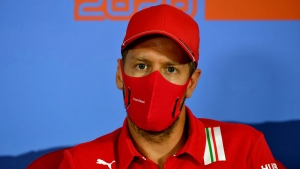 Ferrari driver Sebastian Vettel at the Red Bull Ring racetrack in Spielberg, Austria, on July 2, 2020. (Mark Sutton / Pool via AP)