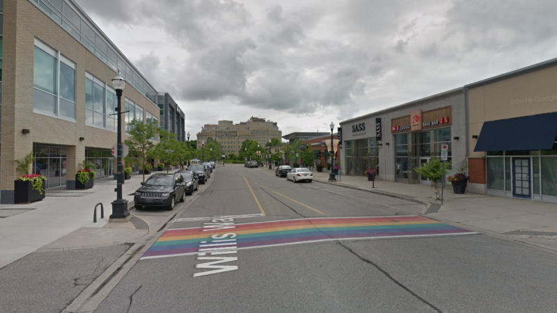 A street view of Willis Way as seen on Google Maps. The street will be closed from the rainbow crosswalk (pictured) to Caroline Street to allow more space for customers. (Source: Google)