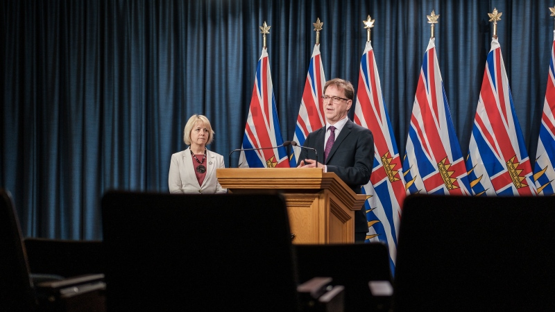 Adrian Dix, Minister of Health, and Dr. Bonnie Henry, provincial health officer, announce new safety measures for visits at long-term care and assisted living facilities: June 30, 2020 (Province of BC / Flickr)