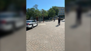Winnipeg police remain on scene at The Forks on Thursday after two men were shot and stabbed early Thursday morning (Submitted photo)