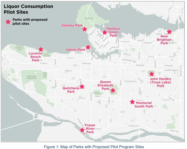 A map of the Vancouver parks with proposed liquor consumption pilot program sites. (Vancouver Park Board)
