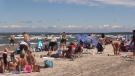 Crowding at Wasaga Beach, Ont., has prompted the town to take action on July 2, 2020. (CTV News Barrie)