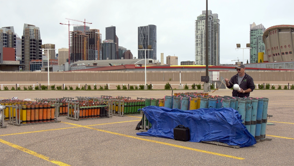 Crews prepare for Stampede fireworks presentation Friday, July 3