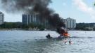 Fiery boat rescue in Barrie