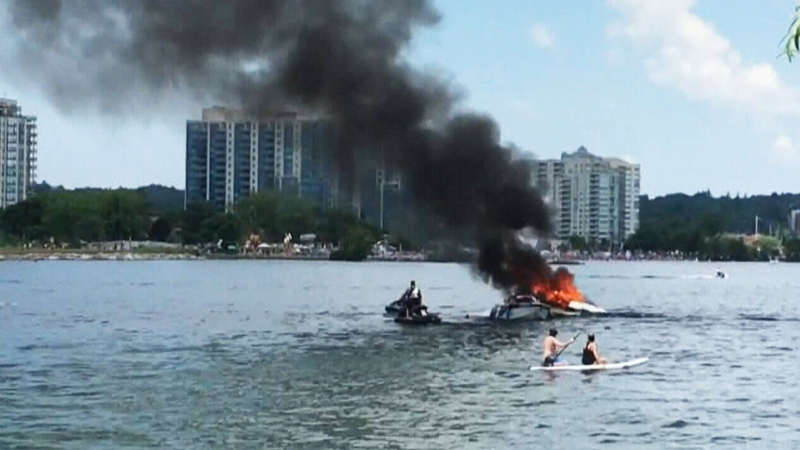 Fiery boat rescue in Barrie