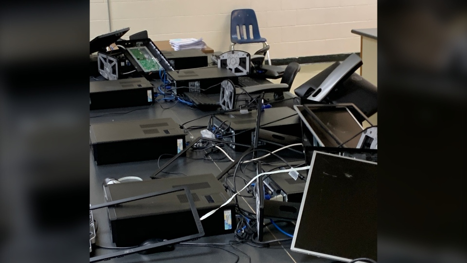 Damage at Cranberry Portage high school