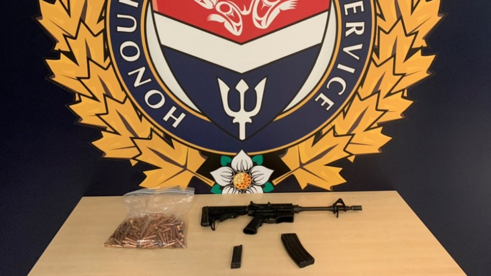The firearm and some of the ammunition that was seized by police is shown: (VicPD)