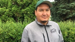 Kevin Wesaquate along with 15 volunteers planted more than 440 Saskatoon berry bushes in Saskatoon's Victoria Park. (Creeson Agecoutay/CTV Saskatoon)