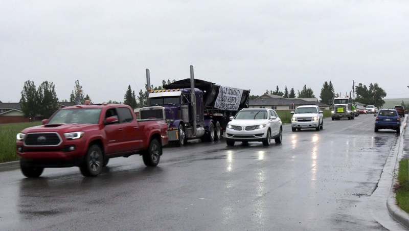 Hundreds of cars, semis and trucks drove through Pincher Creek on Tuesday for the community's Rally to Rescue Rural Healthcare.