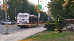 Police say that a TTC bus struck a pedestrian in midtown Toronto on Thursday evening, leaving the man with serious injuries. (CTV News Toronto)