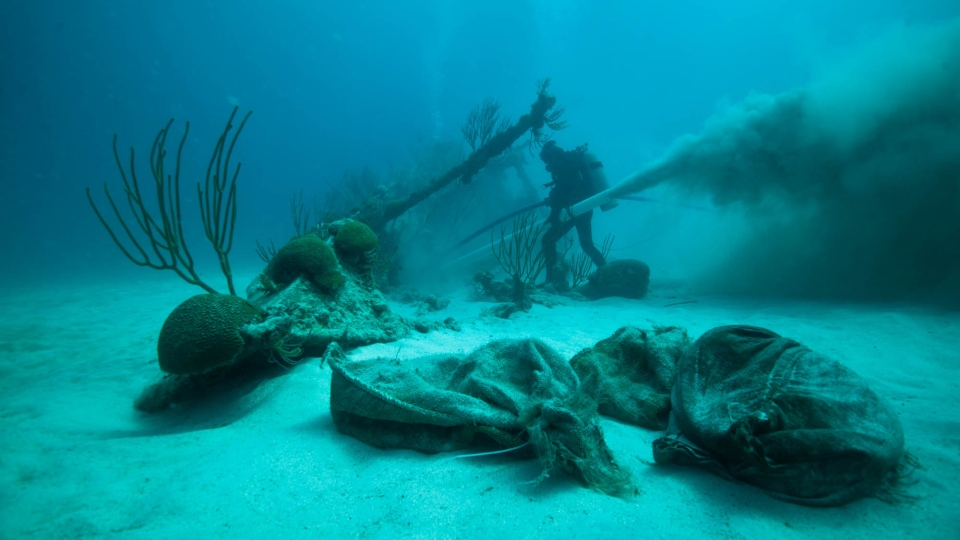 The Mary Celestia shipwreck is seen in this image. (Supplied)
