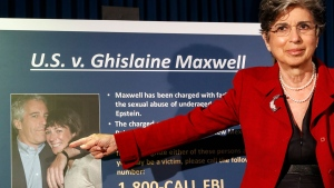 Audrey Strauss, Acting United States Attorney for the Southern District of New York, gestures as she speaks during a news conference to announce charges against Ghislaine Maxwell for her alleged role in the sexual exploitation and abuse of multiple minor girls by Jeffrey Epstein, Thursday, July 2, 2020, in New York. (AP / John Minchillo)