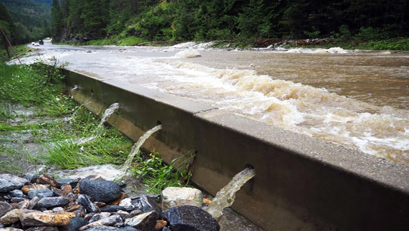 The Trans Canada Highway west of Revelstoke is closed due to flooding.