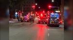 Crews on scene on York Avenue. (Source: Tim Salzen/CTV Winnipeg)