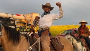 Felipe Masetti Leite, the honourary 2020 Calgary Stampede parade marshal, arrived in Calgary Friday morning after completing his ride across the Americas