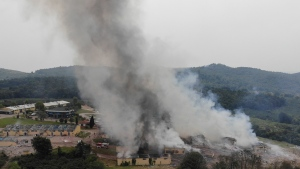 Smoke billows from a fire following an explosion at a fireworks factory outside the town of Hendek, Sakarya province, northwestern Turkey, Friday July 3, 2020. (IHA via AP)