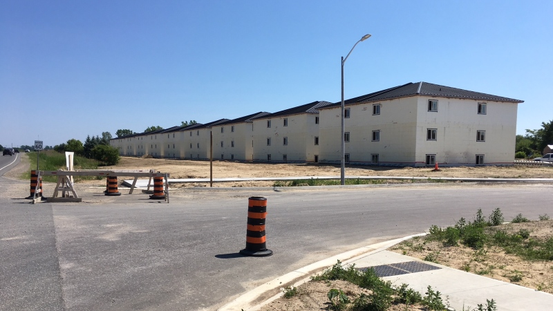 The 96 units are being built along County Road 33 in Leamington, Ont., on Thursday, July 2, 2020. (Chris Campbell / CTV Windsor)
