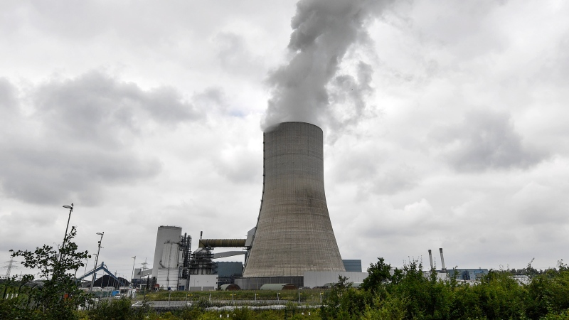 The controversial most modern Uniper Datteln 4 coal-powered plant steams one month after the operational start in Datteln, Germany, Friday, July 3, 2020. (AP Photo/Martin Meissner)