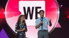 Prime Minister Justin Trudeau and Sophie Gregoire Trudeau appear on stage during WE Day UN in New York City, on Sept. 20, 2017. (THE CANADIAN PRESS / Adrian Wyld)