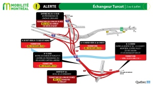 The Turcot Interchange is among several areas where major construction work will take place over the July 3 to 6 weekend. Commuters should prepare to alter their courses. SOURCE Mobility Montreal