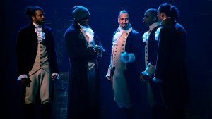 "In this image released by Disney Plus, from left, Daveed Diggs, Okieriete Onaodowan, Lin-Manuel Miranda, Leslie Odom Jr. and Anthony Ramos appear in a filmed version of the original Broadway production of ""Hamilton."" (Disney Plus via AP)"