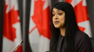 Minister of Diversity and Inclusion and Youth Bardish Chagger speaks during a press conference on Parliament Hill amid the COVID-19 pandemic in Ottawa on Thursday, June 25, 2020. THE CANADIAN PRESS/Sean Kilpatrick
