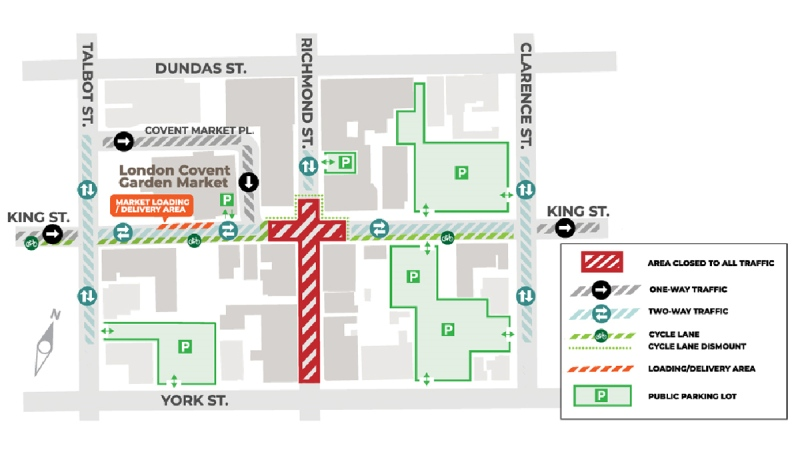 A number of detours will be in place as the intersection of King and Richmond streets closes on Monday, July 6, 2020. (Source: City of London)