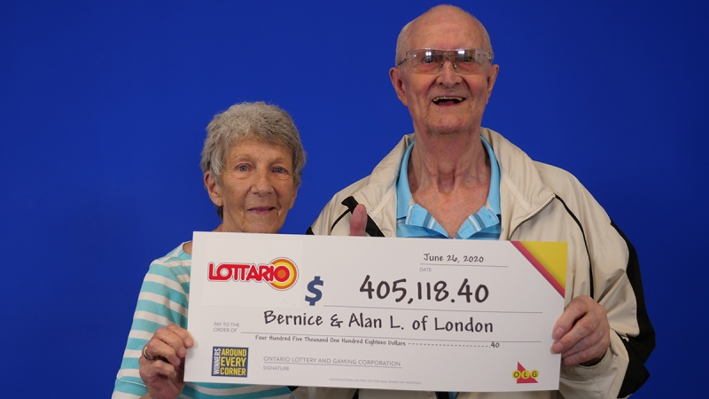 Bernice and Alan Lynn of London, Ont. pick up their Lottario winnings at the OLG offices in Toronto, Ont.