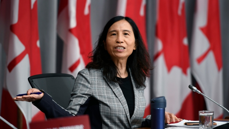 Chief Public Health Officer of Canada Dr. Theresa Tam jokes with members of the press gallery after the conclusion of a news conference on the COVID-19 pandemic, in West Block on Parliament Hill in Ottawa, on Friday, July 3, 2020. THE CANADIAN PRESS/Justin Tang
