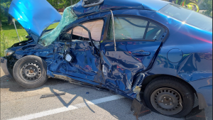 A damaged car is seen following a collision with a transport truck in Russeldale, Ont. on Thursday, July 2, 2020. (Source: OPP)