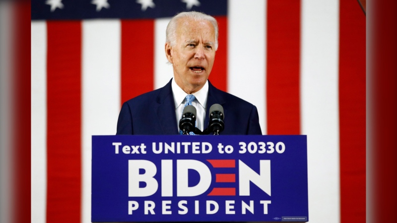 Democratic presidential candidate, former U.S. vice-president Joe Biden, speaks at Alexis Dupont High School in Wilmington, Del. on June 30. Alberta Premier Jason Kenney says he believes Biden can be swayed into supporting the Keystone XL pipeline. (Patrick Semansky/The Canadian Press/AP)