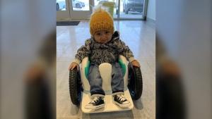 Kaysen Martin in a special wheelchair. (supplied)