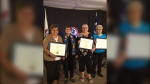 The Dictionary Ladies of St. Laurent recently received an honourary doctorate from the University of Winnipeg. Pictured, from left, are: Lorraine Coutu-Lavallee, University of Winnipeg president Dr. Annette Trimbee, June Bruce, and Agathe Chartrand. (SOURCE: Manitoba Metis Federation)