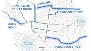 A map of the new bike lane plans for Victoria. (City of Victoria)