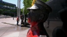 Paint was splashed on a pair of statues set up at the police and firefighter memorials in downtown Calgary sometime overnight.