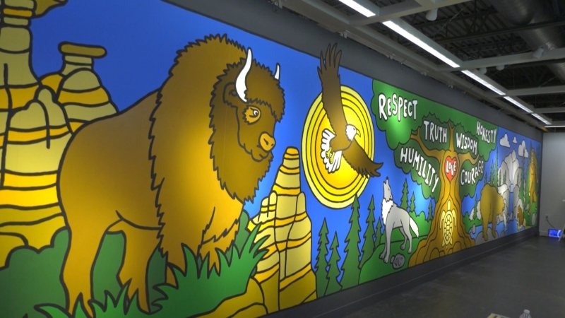 40-foot Indigenous mural unveiled at Edmonton IKEA. (CTV News Edmonton)