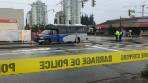 Police respond to a fatal accident involving a TransLink bus in White Rock on Friday, July 3, 2020.