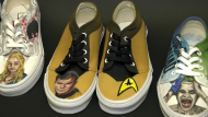 One of the pairs of sneaker art created by Calgary artist Jordon Bourgeault. Glenn Campbell reports