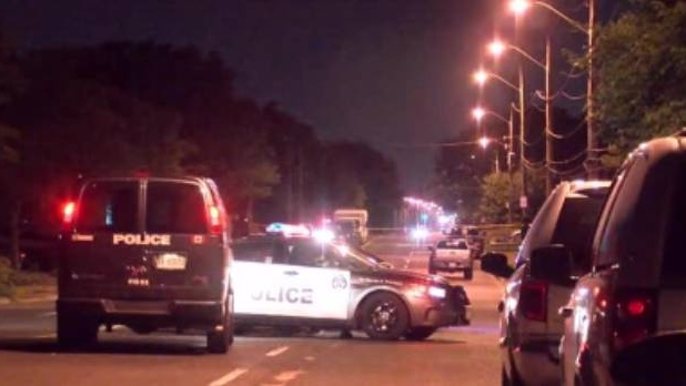 Police vehicles are shown at the scene of a shots fired investigation in Scarborough early Saturday morning.