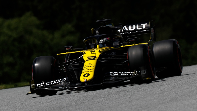 Renault driver Daniel Ricciardo of Australia steers his car during the third practice session at the Red Bull Ring racetrack in Spielberg, Austria, Saturday, July 4, 2020. (Leonhard Foeger/Pool via AP)